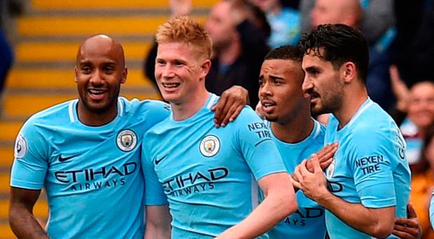 Top man: Kevin de Bruyne is hailed after his goal