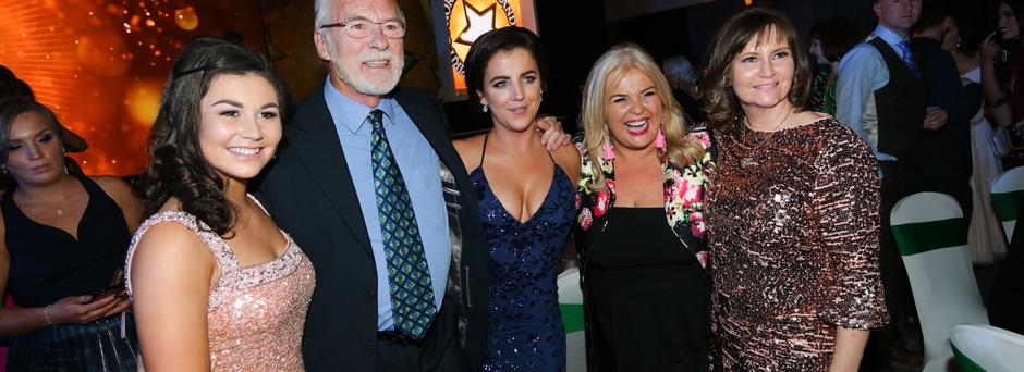 Press Eye - Belfast - Northern Ireland - 20th April 2018 - Ian McElhinney and Jamie-Lee O'Donnell with fans at the 2018 Spirit of Northern Ireland Awards Photo by Kelvin Boyes / Press Eye