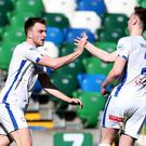 Coleraine's Darren McCauley celebrates scoring at Windsor Park on Saturday.