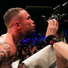 Carl Frampton celebrates beating Nonito Donaire on Saturday night.
