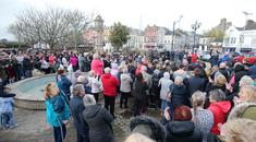 People gather in Bangor, Co. Down, to show there support for a 16-year-old girl who was badly beaten during an assault in the town on Friday. Picture by Jonathan Porter/PressEye