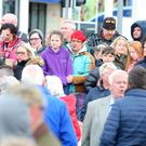 Press Eye - Belfast - Northern Ireland - 23rd April 2018 People gather in Bangor, Co. Down, to show there support for a 16-year-old girl who was badly beaten during an assault in the town on Friday. Three teenagers have been arrested and charged with the assault after a recording of the incident appeared on social media. Picture by Jonathan Porter/PressEye