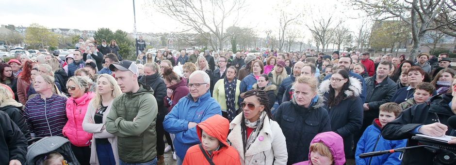 People gathered in Bangor evening in support of a girl who was attacked on the town's pier at the weekend.