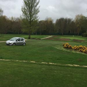 A driver ended up on the green at Ormeau Golf Club while following his Sat Nav trying to get to the Odyssey. Credit: Aaron Fulton and BBC Northern Ireland