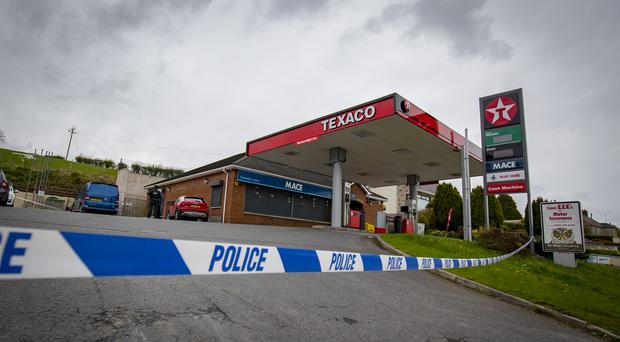 Police at the scene of an ATM theft on the Crossgar Road in Ballynahinch on April 24th 2018 (Photo by Kevin Scott / Belfast Telegraph)