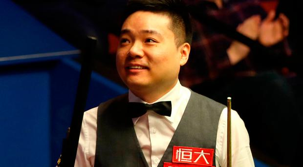 All smiles: Ding Junhui after his first-round Crucible victory