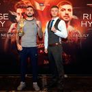 Belt rivals: Paul Hyland (right) and Lewis Ritson in Newcastle ahead of their British title fight