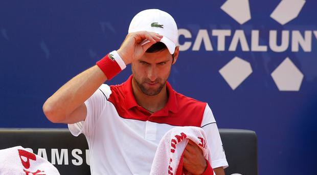 Early exit: Novak Djokovic after his second-round defeat at the Barcelona Open