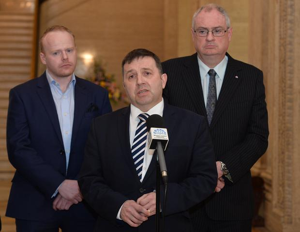 UUP Leader Robin Swann and party colleagues speak to the media in the Great Hall, Stormont, following a meeting with Secretary of State Karen Bradley. Pic Colm Lenaghan/Pacemaker