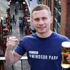 Two weight world boxing champion Carl Frampton celebrates with fans in Belfast city centre following his incredible victory over Nonito Donaire in the SSE Arena on Saturday night. Photo: Press Eye/Darren Kidd