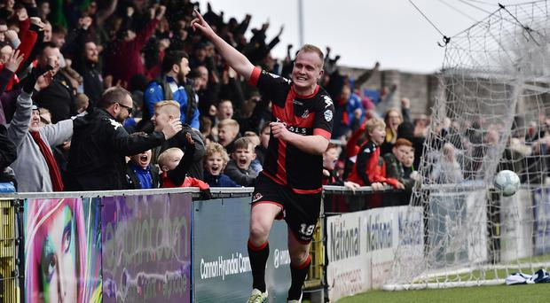 Goal ace: Jordan Owens is confident Crusaders can win at Ballymena to finish top of the league