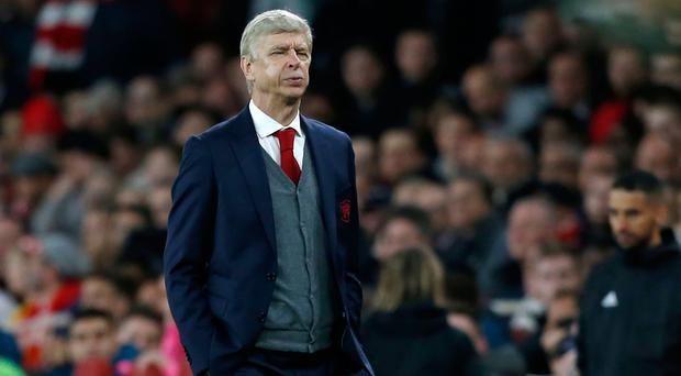 Utter frustration: Arsenal boss Arsene Wenger feels the heat