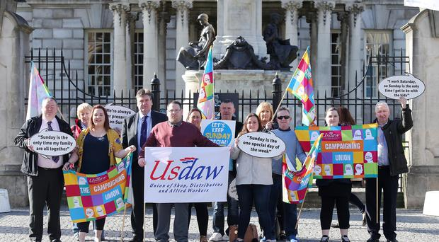 Shopworkers protested at Belfast City Hall over proposed longer Sunday trading hours which the city council is considering. Picture by Jonathan Porter/PressEye