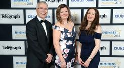 Press Eye - Belfast - Northern Ireland - 26th April 2018 - 2018 Belfast Telegraph Business Awards at the Crowne Plaza Richard Dornan Ulster Bank, Susan Hill from Novosco and Gail Walker pictured at the Business Awards. Photo by Kelvin Boyes / Press Eye