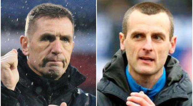 Crusaders boss Stephen Baxter (left) and Coleraine manager Oran Kearney (right).