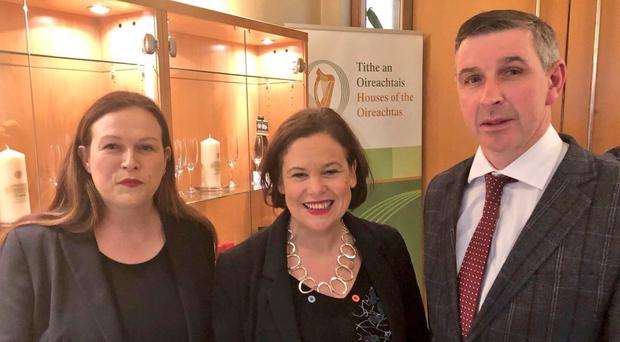 Sinn Fein president Mary Lou McDonald, centre, with Sinn Fein TD Louise O'Reilly and Ian Marshall (@MaryLouMcDonald/Twitter/PA)
