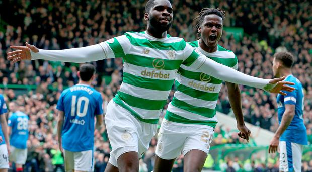 Celtic's Odsonne Edouard celebrates scoring his sides first goal during the Ladbrokes Scottish Premiership match at Celtic Park, Glasgow. PRESS ASSOCIATION Photo. Picture date: Sunday April 29, 2018. See PA story SOCCER Celtic. Photo credit should read: Jane Barlow/PA Wire. RESTRICTIONS: EDITORIAL USE ONLY