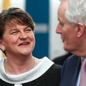 Arlene Foster with European Union chief Brexit negotiator Michel Barnier prior to a meeting at EU headquarters in Brussels in March 2018. (Yves Herman, Pool Photo via AP)