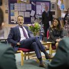 Leo Varadkar speaks with students at Newbridge Integrated College (Liam McBurney/PA)