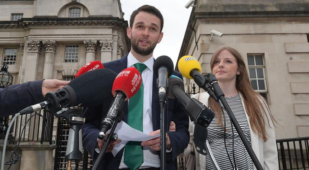 Daniel McArthur (director of Ashers Bakery) and with wife Amy at the High Court in Belfast. Photo Colm Lenaghan/Pacemaker Press