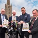 Showpiece tournament: (from left) Walled City of Derry Pro-Am title sponsor Ciaran O'Neill, Managing Director, Bishop's Gate Hotel; Michael McCumiskey, of PGA in Ireland; professional golfer and defending champion Michael McGeady; and Maolíosa McHugh, Mayor of Derry City and Strabane Council