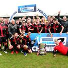 Just champion: Crusaders celebrate their Danske Bank Premiership title success on Saturday