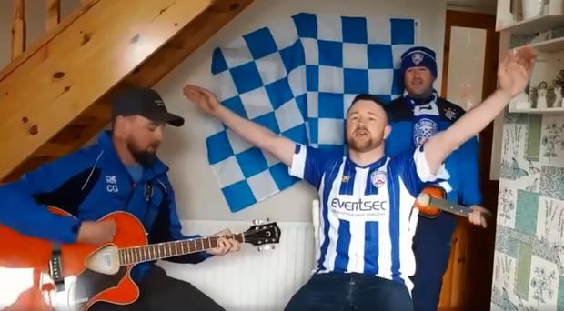 Coleraine fans Jackson Freeman, Geoff Stewart and Gordon Stratton are in the mood for Irish Cup final glory.