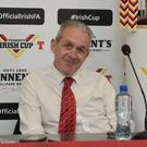 Cliftonville's assistant boss Harry Fay during a press conference ahead of the Tennent's Irish Cup Final between Cliftonville and Coleraine which will kick off on Saturday 5th May at the National Football Stadium at Windsor Park. Pic Pacemaker Press