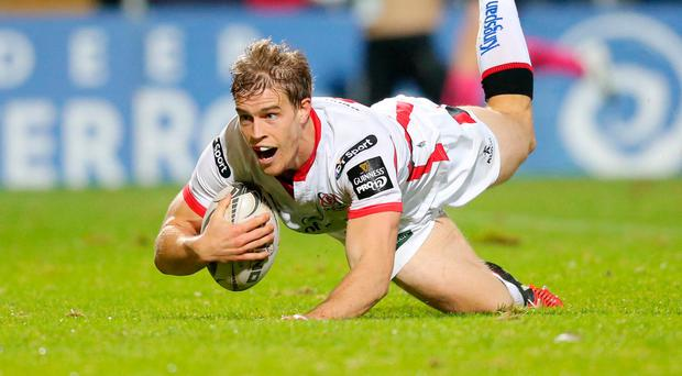 Top notch: Andrew Trimble goes over for an Ulster try