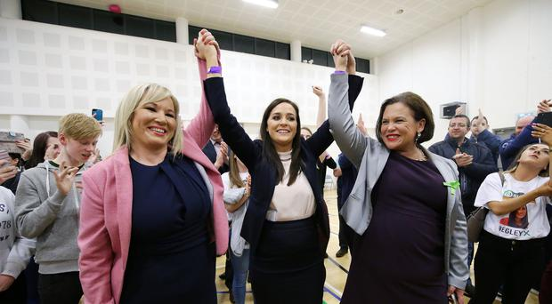 New MP Órfhlaith Begley, Sinn Féin, centre, pictured with party leaders Michelle O'Neill, left, and Mary-Lou McDonald at the count centre in Omagh Leisure Centre, Co Tyrone. Photo by Kelvin Boyes / Press Eye