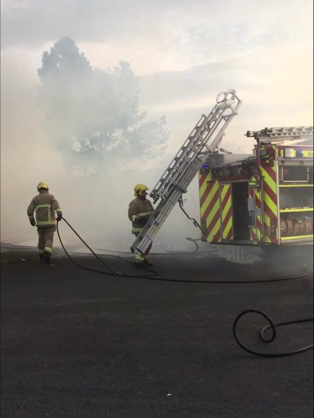 Firefighters tackling the blaze at Ballymote Walk, Downpatrick.