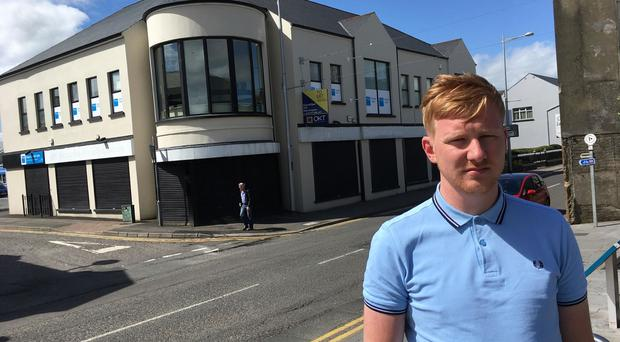 SDLP West Tyrone MLA Daniel McCrossan pictured at the scene of the attack.