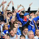 Coleraine supporters in full voice at the Irish Cup final.