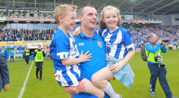 Coleraine boss Oran Kearney celebrates Irish Cup success.