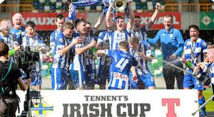 Stephen O'Donnell lifted the trophy as Coleraine landed their sixth ever Irish Cup title.