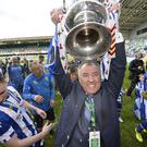 Coleraine chairman Colin McKendry celebrates the club's Irish Cup success last season.