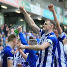 Coleraine's Darren McCauley celebrates after today's game at the National Stadium, Belfast. Photo by David Maginnis/Pacemaker Press