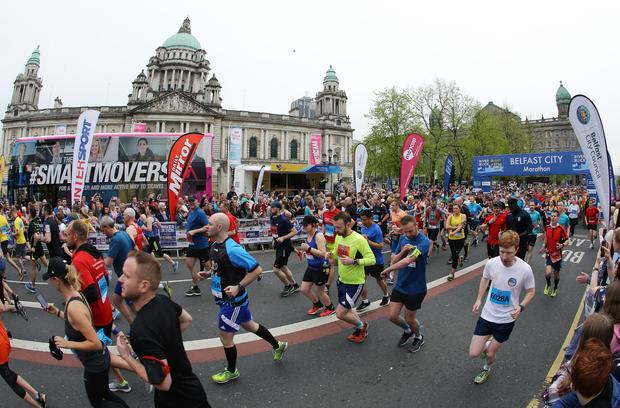 37th Deep RiverRock Belfast City Marathon sets off (photo by Kelvin Boyes / Press Eye)