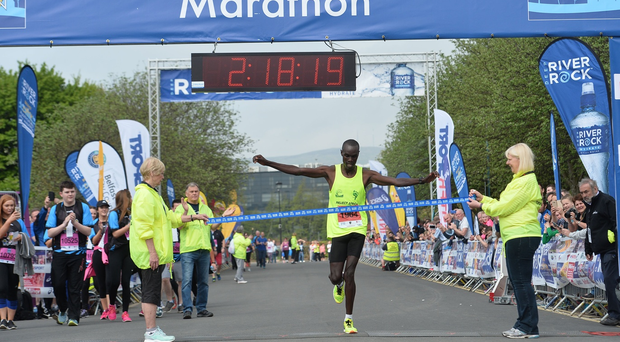 Eric Koech wins the 37th annual Belfast City Marathon. Pic Colm Lenaghan/Pacemaker