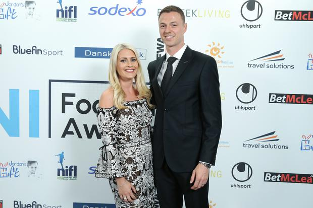 Jonny Evans with his wife Helen pictured at the Northern Ireland Football Awards. Photo by Kelvin Boyes / Press Eye
