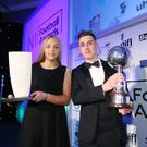 Player and young player of the year Gavin Whyte with Lauren Perry, Women's Football Personality of the Year. Photo by Kelvin Boyes / Press Eye