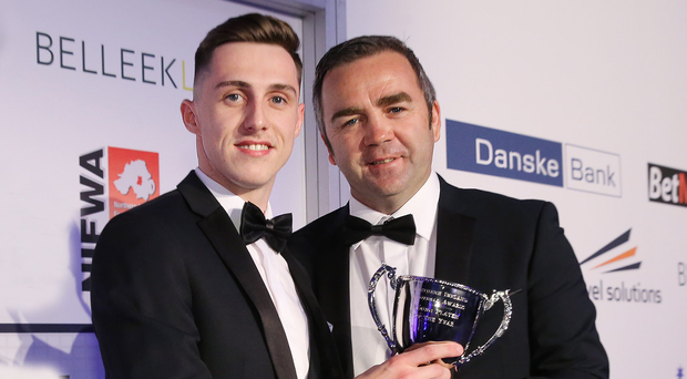 Prize guy: Gavin Whyte is presented with his Young Player of the Year award last night