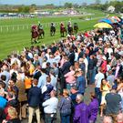 Punters enjoy the racing at Down Royal's May Day event.