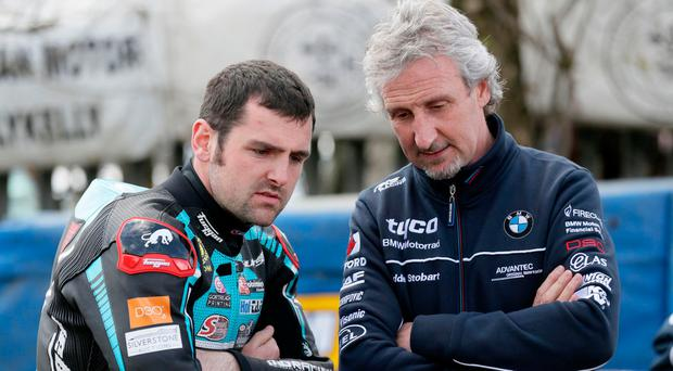 Record holder: Michael Dunlop with Tyco BMW team boss Philip Neill