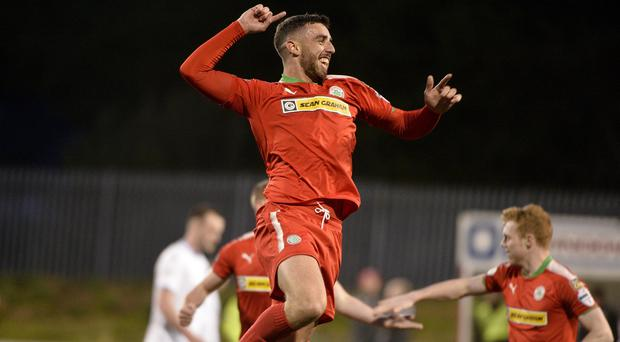 Cliftonvilles Joe Gormley celebrates after firing his side into a 4-0 lead. Pic: Inpho/Stephen Hamilton