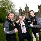 Family business: Father and son competitors and sponsors John and Jonny Mulholland with Mayor of Antrim and Newtownabbey Councillor Paul Hamill at the Ulster Rally launch