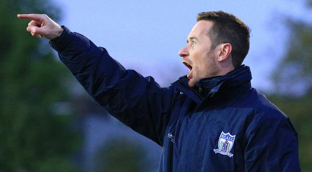 Newry's manager Darren Mullen during the play-off second leg.