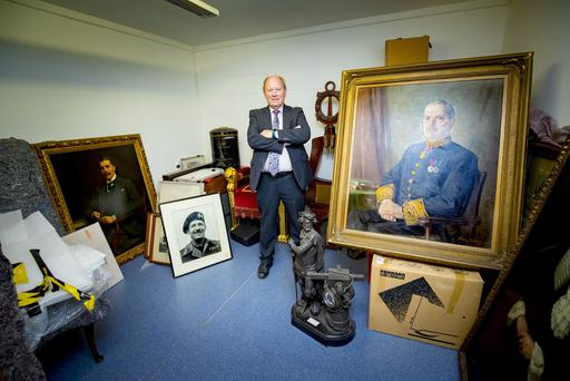 Jim Allister reveals Stormont art work at a lock up on the outskirts of Belfast on May 10th 2018 (Photo by Kevin Scott / Belfast Telegraph)