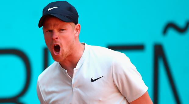 Get in: Kyle Edmund on the way to victory over David Goffin yesterday