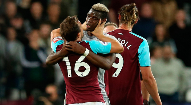 Fight night: Paul Pogba and Mark Noble clash